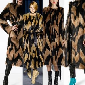 GIVENCHY Runway Faux Fur Coat Oversized 36 S